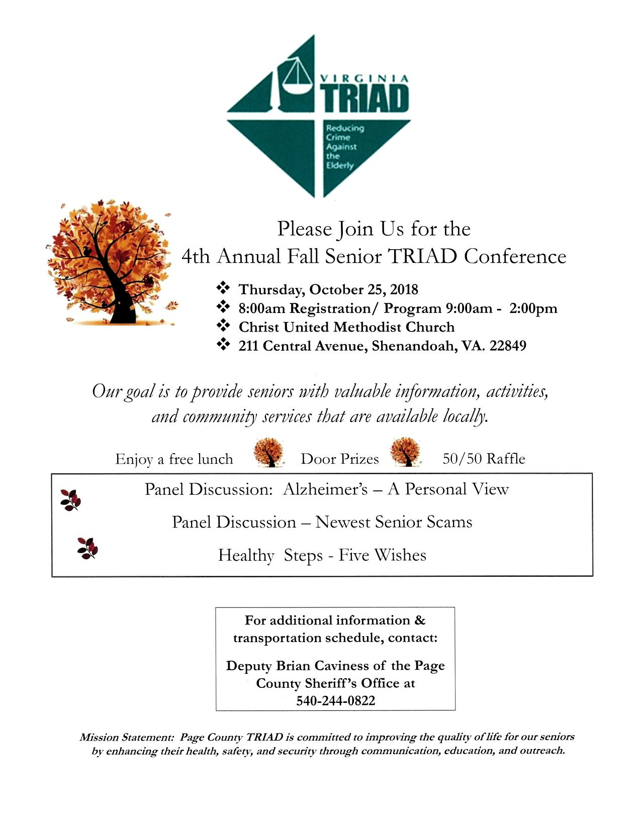 4th Annual Senior Fall TRIAD Conference   Luray-Page Chamber