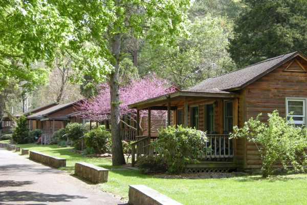 Brookside Cabins in Spring in Shenandoah Valley