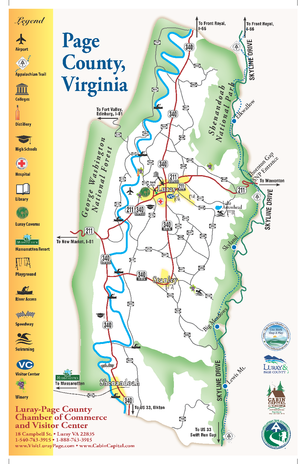 Maps Of Luray And Page County For Your Exploring Luray Page - Free-us-maps-by-mail